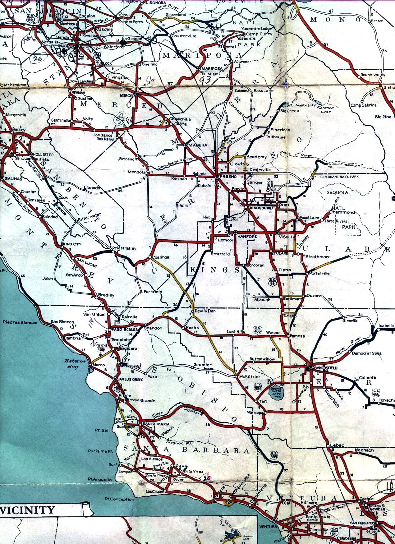 central valley and parts of the central coast on the  californiaofficial highway map. california road signs and sights gallery section of  official