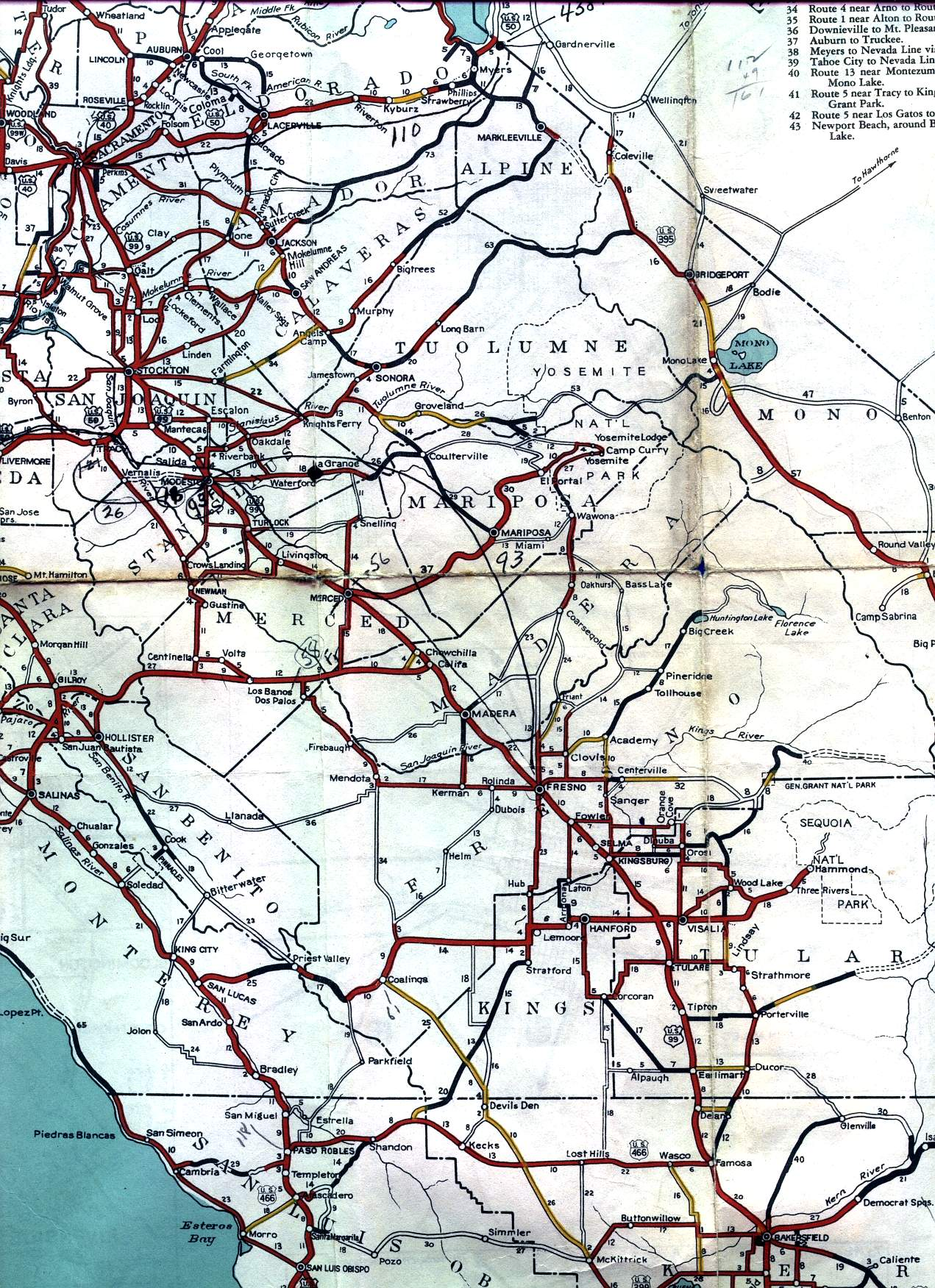 California Road Signs and Sights Gallery Section of 1936 official