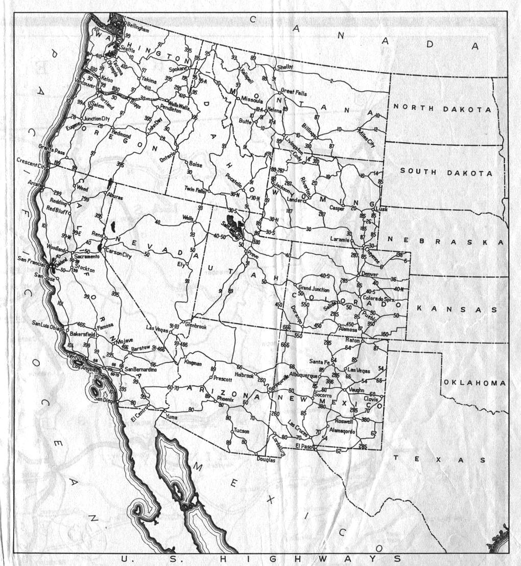 Road Map Of Western Us States - Map of the western us states