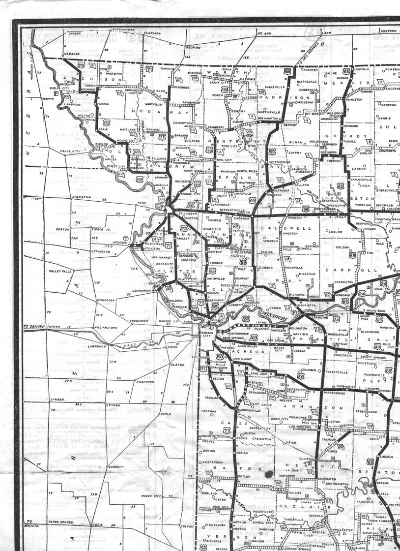 Northwest Missouri Map.Missouri Highways Unofficial Section Of 1932 Official Road Map