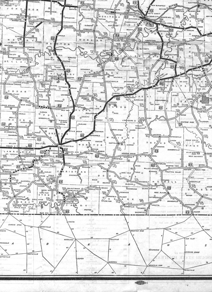 Missouri Highways Unofficial Section Of Official Road Map - Missouri road map