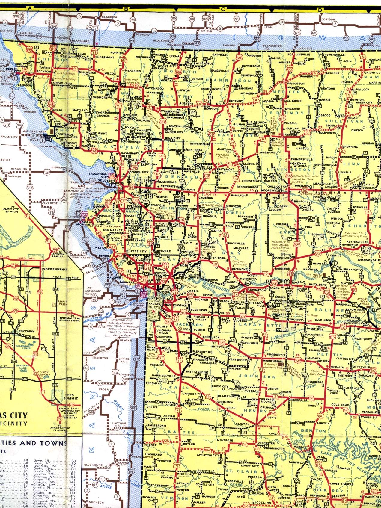 Northwest Missouri Map.Missouri Highways Unofficial Section Of 1940 Official Highway Map