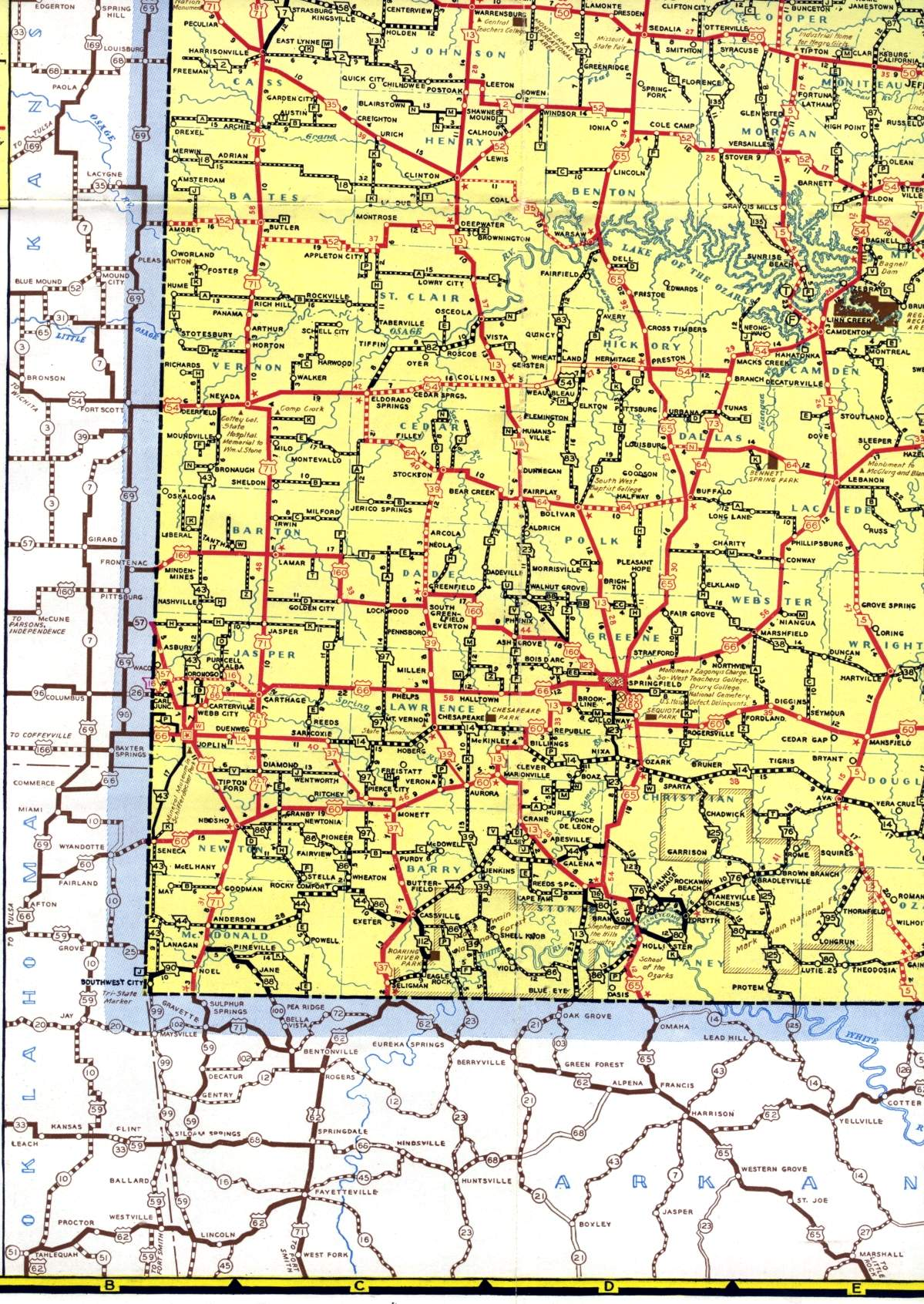 Missouri Highways (unofficial)   Section of 1940 official highway map