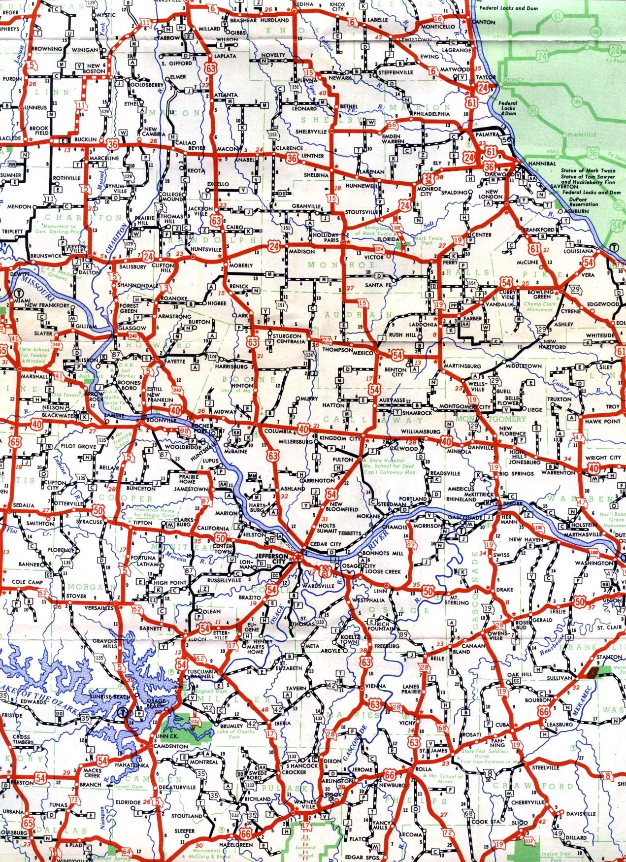 Missouri Highways Unofficial Section Of Official Highway Map - Highway map of missouri