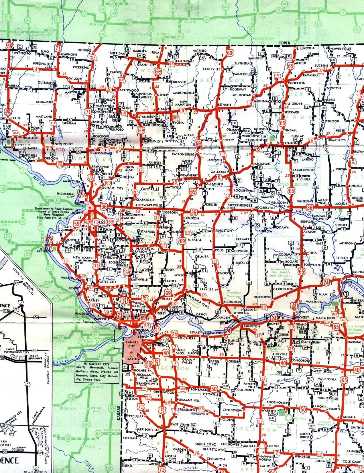 Northwest Missouri Map.Missouri Highways Unofficial Section Of 1950 Official Highway Map