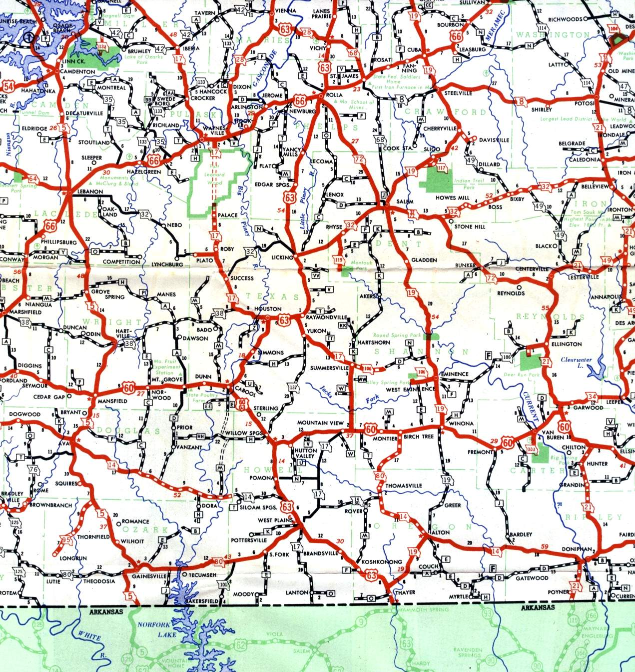Missouri highways unofficial section of 1950 official highway map south central missouri in 1950 section of 1950 official missouri highway map sciox Image collections