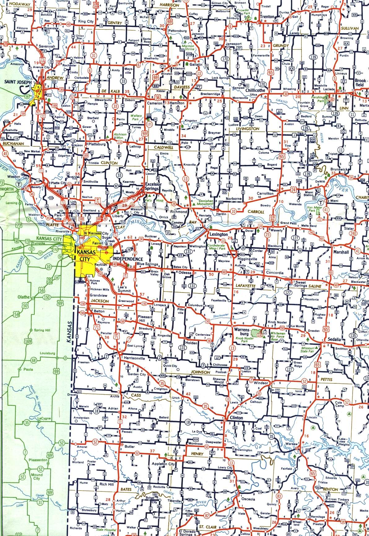 Missouri Highways Unofficial Section Of Official Highway Map - Missouri highway map